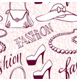 fashion vogue seamless pattern vintage doodle hand vector image