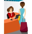happy female receptionist vector image