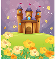 A beautiful castle in the fields vector image