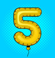 air balloon in shape of number 5 pop art vector image