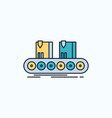 belt box conveyor factory line flat icon green vector image