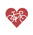 Bicycle in heart Flat icon vector image