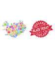 black friday collage of mosaic map of iceland and vector image vector image
