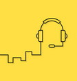 black linear headphone on yellow background vector image vector image
