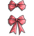 cartoon pink holiday bow knot icon set vector image vector image