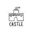 castle icon hand drawn doodle castle building vector image vector image