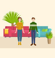 couple in new home with sofa and armchair and home vector image