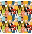 Crowd of people seamless pattern vector image