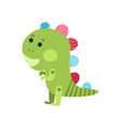 cute cartoon green dragon animal toy colorful vector image vector image