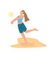 cute young student girl play beach volleyball vector image