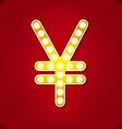 Diamond glittering Yen sign of sparkling vector image