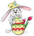 easter rabbit with egg and flower vector image vector image