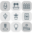 farm icons set with tree park lamp peony and vector image
