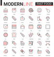 fast food flat thin red black line icons vector image vector image