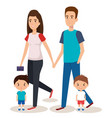 father and mother with sons vector image