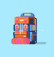 flat modern hiking backpack mountain vector image vector image
