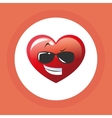 Flat of cartoon face design heart vector image vector image
