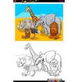 funny wild animals characters group color book vector image vector image