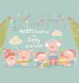 funnycartoon pigs with christmas gifts merry vector image