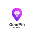 gem and pin logo design vector image vector image