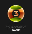 golden number three logo symbol in the circle vector image vector image