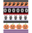 halloween pattern with owlskull heart pumpkin vector image vector image