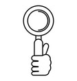 hand with search magnifying glass vector image vector image