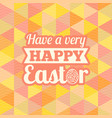 happy easter headline with geometric background vector image