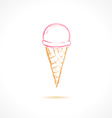 Ink pink ice cream icon vector image