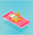 isometric smartphone with money pink vector image vector image