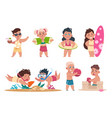 kids at beach cartoon happy children swimming vector image vector image