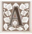 letter A with leaves and frame vector image vector image