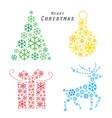 merry christmas tree reindeer gift snowflake vector image vector image