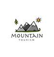 mountain tourism design logo vector image vector image