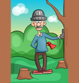 mustached lumberjack chopping wood vector image