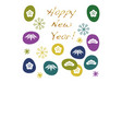 new years card template with japanese symbols vector image