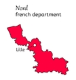 Nord french department map vector image vector image