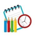 notebook colors watch school design vector image