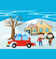 scene with kids and car covered with snow vector image vector image