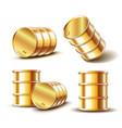 set golden metal oil barrel in different vector image vector image