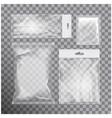 set of blank transparent foil bag packaging for vector image