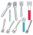 set of fork vector image vector image