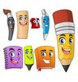 set of funny cartoon characters school items vector image vector image