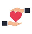shelter hand with cartoon heart icon vector image vector image