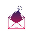 silhouette e-mail message information with bomb vector image vector image