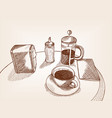 sketch table in the coffee house with coffee and vector image