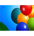 Spring background with colourful balloons vector image vector image