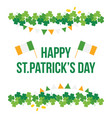 stpatricks day card with shamrock and flags vector image
