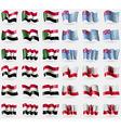 Sudan Tuvalu Egypt Gibraltar Set of 36 flags of vector image