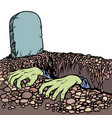 the grave a zombie dead man hands vector image vector image